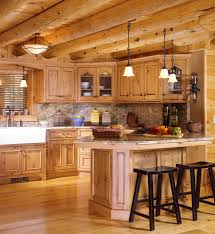 travertine countertops log cabin kitchen cabinets lighting