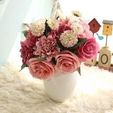 2018 Silk Flower Wedding Bouquet Roses Dahlias Artificial Flowers