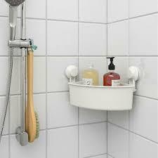 ikea eckregal mit saugnapf in weiß badezimmerablage duschablage ohne bohren