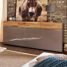 wohnzimmer sideboard in braun hochglanz mit eiche massivholz