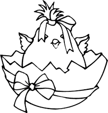 Broken Egg Contain Baby Chicken Wearing Ribbon Colouring Page