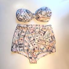 Cash Money Print Strapless High Waisted Swimsuit Etsy