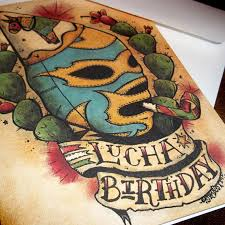 Lucha Libre Birthday Card Mexican Traditional Tattoo Style Art
