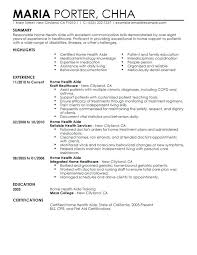 Health Resume Examples Home Aide Sample