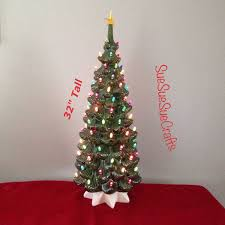 White Christmas Tree With Colored Lights Rustic Ceramic New 32 Green Lighted Tall Vintage Style