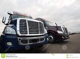 Two Modern Semi Trucks On Truck Stop Grills Front View Stock Photo ...
