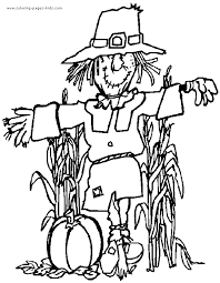 Scarecrow Thanksgiving Color Page Holiday Coloring Pages Plate Sheetprintable