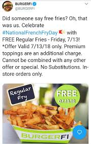 Pinned July 13th: #FREE Fries Today At #BURGERFI Restaurants ... Home Depot Promo Code 2019 March Durapak Supplies Coupon Gear Up Catherines Coupons Grocery Outlet Store Open Near Me Cyberseo Xfinity Codes For Free Wifi Calendarclub Ca Health Freedom Rources Natchez Shooting All American Apparel Discount Woocommerce Tips Online Home Goodsalt Extreme Couponing How Do They It Online Stco Novartis Pharmaceuticals Tough Mudder Parking Teleflora Mothers Day Discount Sevenhills Wallis April Americas Best Eyeglasses