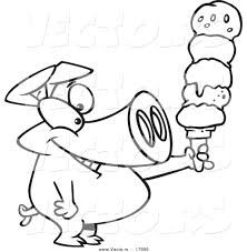 Vector of a Cartoon Pig Holding a Big Ice Cream Cone Coloring Page Outline