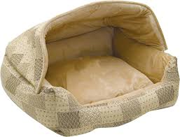 Bolster Dog Bed by K U0026h Pet Products Hooded Lounge Sleeper Pet Bed Tan Chewy Com