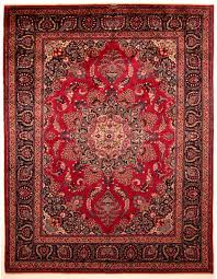 Cherry Red And Navy Blue Mashad Persian Rug
