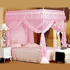 vier eckpost bett baldachin vorhang moskitonetz schlafzimmer kinderzimmer zimmer prinzessin stil netting bettwäsche nette dekoration farbe rosa