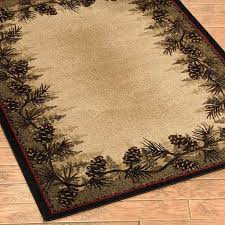 Pinecone Pine Cone Forest Border Rustic Cabin Lodge Area Rug 5 Sizes 2 Rounds