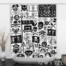 Pirate Themed Skull Flag Bathroom Shower Curtain Custom Shower