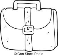Black And White Cartoon Old Work Bag
