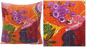Gypsy Home Decor Shop by Bohemian Home Multi Color Floral Stitched Orange Pillow Cover