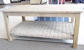 Capris Furniture 752 Casual Coffee Table with Woven Shelf
