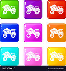Dump Truck With Sand Icons 9 Set Royalty Free Vector Image