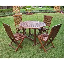 Highland 5 Piece Wood Patio Dining Furniture Set Tar