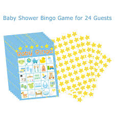 Boy Baby Shower Bingo Game 24 Guests Party Game Supplies