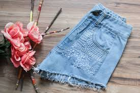 high waist vintage denim shorts size 7 8 ripped distressed
