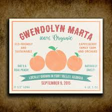Shes A Real Peach Custom Fruit Crate Label Style Organic Nursery Layette Childrens Wall Décor Art Print ABP1009