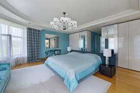 Blue Theme Modern Bedroom White Rug Silver Mirrors