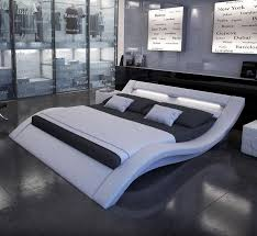 Calyx White Modern Bed with Curved Headboard This king queen sized