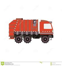 Red Garbage Truck Isolated On White Background. Side View Cartoon ...
