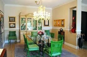 Eclectic Dining Room Chairs Dazzling Breakfront Vogue Inspiration With Bright Green Chair Rail Chandelier China Table