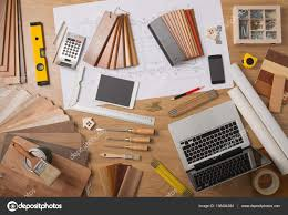 100 Home Interior Decorator Architect And Interior Designer Work Table Stock Photo