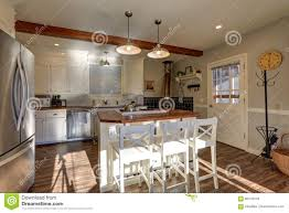 100 Beams On Ceiling Newly Renovated Kitchen Boasts Wood Stock Photo