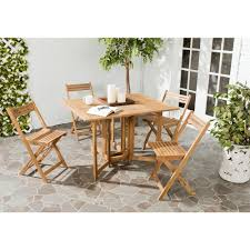 Patio Furniture Conversation Sets Home Depot by Safavieh Arvin Teak 5 Piece Patio Dining Set Pat7001a The Home Depot