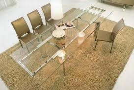 ausziehbarer esstisch aus glas holz und kunststoff