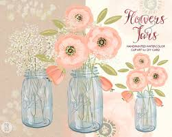 Watercolor Mason Jar Baby Breath Cream Pink Flowers Hand Painted Bouquet Florals Clip Art Invite Diy Rustic Wedding