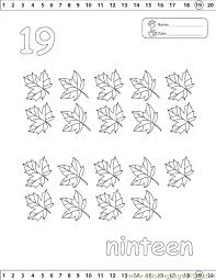 Numbers 19 Coloring Page