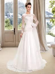 plain bateau lace buttons long sleeves wedding dress 11282325