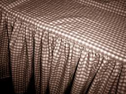 Brown and White Gingham Check Bedskirt Dustruffle