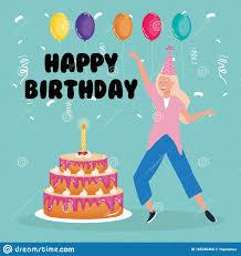 glücklicher geburtstag frau tanz mit kuchen und ballons