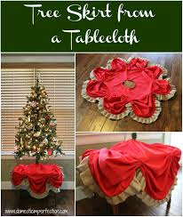 Tutorial On Making A Christmas Tree Skirt From Table Cloth And Burlap Ribbon