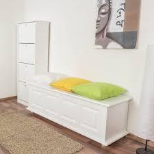 sitzbank mit stauraum kiefer massiv vollholz weiß lackiert 179 50 x 154 x 46 cm h x b x t
