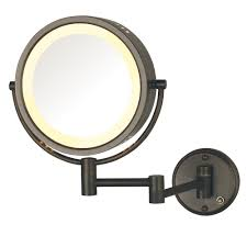 zadro 12 in l x 9 in w led lighted wall mirror in satin nickel