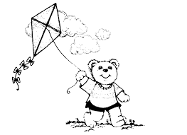 Kite Coloring Pages Play Around Bear
