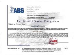bureau of shipping abs aqua diving services certification