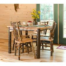 All Hickory Table With Stick Back Seat Arm Chairs