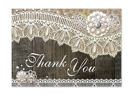 Rustic Wood Lace Flat Thank You Card