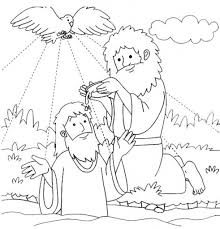 Jesus Baptized By John The Baptist Coloring Page For Baptism With