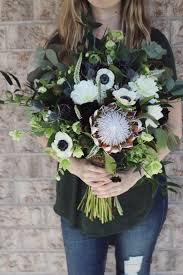 100 Lake House Pickering King Protea White Blue Bridal Bouquet With Anemone Dahlias Scabies