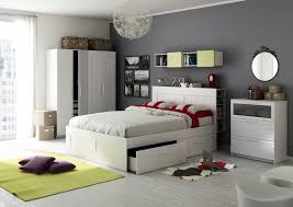 Bedroom Pretty Ikea Ideas With White Headboard Bed Along Storage Drawer Under Also Cabinet And Floating Shelf Round Mirror On