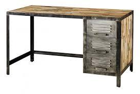 bureau industriel metal bois déco industrielle en bois et métal